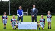 23 September 2020; Skryne GFC has been boosted with the news that it has claimed first prize in the 2020 Kellogg's GAA Cúl Camps on-pack promotion, claiming a huge €25,000 for the club. Pictured is David Byrne from Kellogg's with former Meath football Trevor Giles and, from left, Chris O'Connor, age 9, Katie O'Connor, age 11, Oisin Giles, age 10 and Emily Philips, age 11. Photo by Matt Browne/Sportsfile