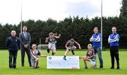 23 September 2020; Skryne GFC has been boosted with the news that it has claimed first prize in the 2020 Kellogg's GAA Cúl Camps on-pack promotion, claiming a huge €25,000 for the club. Pictured is, from left, Senan McGrath, Chair of Skryne GFC Club, David Byrne from Kellogg's, Katie O'Connor, age 11, Emily Philips, age 11, Chris O'Connor, age 9, Oisin Giles, age 10,  former Meath football and Skryne GFC coach Trevor Giles and Ross Philips Skryne GFC Club Treasurer. Photo by Matt Browne/Sportsfile