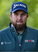 23 September 2020; Shane Lowry of Ireland is interviewed by the media prior to his practice round ahead of the Dubai Duty Free Irish Open Golf Championship at Galgorm Spa & Golf Resort in Ballymena, Antrim. Photo by Brendan Moran/Sportsfile