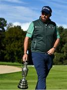 23 September 2020; Shane Lowry of Ireland arrives with the Claret Jug prior to his practice round ahead of the Dubai Duty Free Irish Open Golf Championship at Galgorm Spa & Golf Resort in Ballymena, Antrim. Photo by Brendan Moran/Sportsfile