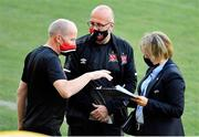 23 September 2020; Dundalk kitman Noel Walsh, left, and Dundalk Chief Operations Officer Martin Connolly in conversation with a UEFA delegate during a Dundalk training session at Stadionul Sheriff in Tiraspol, Moldova. Photo by Alex Nicodim/Sportsfile