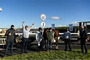 23 September 2020; Jockey Paul Townend, centre, with, Cabaret Queento, trainer Willie Mullins, right, Owner Jonathan O'Grady second from left, and winning connections after winning the Guinness Kerry National Handicap Steeplechase at Listowel in Kerry. Photo by Harry Murphy/Sportsfile