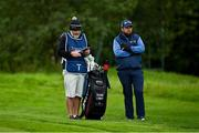 24 September 2020; Shane Lowry of Ireland awaits his turn on the sixth fairway, with his caddie Brian Martin, during day one of the Dubai Duty Free Irish Open Golf Championship at Galgorm Spa & Golf Resort in Ballymena, Antrim. Photo by Brendan Moran/Sportsfile