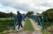 24 September 2020; Shane Lowry of Ireland crosses the bridge at the fifth tee box during his round at day one of the Dubai Duty Free Irish Open Golf Championship at Galgorm Spa & Golf Resort in Ballymena, Antrim. Photo by Brendan Moran/Sportsfile