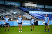 24 September 2020; AIG Insurance today launched the 2020 Dublin All-Ireland GAA Season with a tribute to club volunteers, members and frontline workers. Payers, from left, Dublin hurler Eoghan O'Donnell, Dublin ladies' footballer Jennifer Dunne, Dublin camogie player Emma O'Byrne and Dublin footballer Jonny Cooper were in Parnell Park as part of the launch. Photo by Stephen McCarthy/Sportsfile