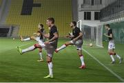 24 September 2020; Dundalk players, from left, David McMillan, Patrick McEleney, Will Patching and Daniel Kelly warm-up ahead of the UEFA Europa League Third Qualifying Round match between FC Sheriff Tiraspol and Dundalk at the Stadionul Sheriff in Tiraspol, Moldova. Photo by Alex Nicodim/Sportsfile