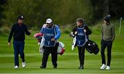 25 September 2020; Scott Hend of Australia, left, and Tom McKibben of Northern Ireland and their caddies Tony Carolan and Ryan McGuigan walk without their playing partner Sebastian Soderberg of Sweden, after The European Tour withdrew Soderberg from this week's event after the Swede was notified of a contact who has subsequently tested positive for COVID-19, during day two of the Dubai Duty Free Irish Open Golf Championship at Galgorm Spa & Golf Resort in Ballymena, Antrim. Photo by Brendan Moran/Sportsfile