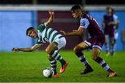 22 September 2020; Sean Brennan of Shamrock Rovers II and Brandon Bermingham of Drogheda United during the SSE Airtricity League First Division match between Drogheda United and Shamrock Rovers II at United Park in Drogheda, Louth. Photo by Ben McShane/Sportsfile