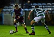 22 September 2020; Mark Doyle of Drogheda United and Oisin Hand of Shamrock Rovers II during the SSE Airtricity League First Division match between Drogheda United and Shamrock Rovers II at United Park in Drogheda, Louth. Photo by Ben McShane/Sportsfile