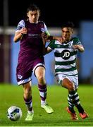 22 September 2020; Jake Hyland of Drogheda United and Sean Brennan of Shamrock Rovers II during the SSE Airtricity League First Division match between Drogheda United and Shamrock Rovers II at United Park in Drogheda, Louth. Photo by Ben McShane/Sportsfile