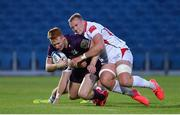 25 September 2020; Ciarán Frawley of Leinster A is tackled by Kieran Treadwell of Ulster A during the A Interprovincial Friendly match between Leinster A and Ulster A at the RDS Arena in Dublin. Photo by Ramsey Cardy/Sportsfile