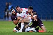 25 September 2020; Aaron Sexton of Ulster A is tackled by Max Deegan, left, and Jimmy O'Brien of Leinster during the A Interprovincial Friendly match between Leinster A and Ulster A at the RDS Arena in Dublin. Photo by Ramsey Cardy/Sportsfile