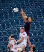 25 September 2020; A view of empty seats as Ross Molony of Leinster A wins possession in the lineout during the A Interprovincial Friendly match between Leinster A and Ulster A at the RDS Arena in Dublin. Photo by Ramsey Cardy/Sportsfile