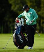 25 September 2020; Shane Lowry of Ireland takes his putter from his golfbag during day two of the Dubai Duty Free Irish Open Golf Championship at Galgorm Spa & Golf Resort in Ballymena, Antrim. Photo by Brendan Moran/Sportsfile