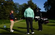 25 September 2020; Paul McGinley chats to Shane Lowry of Ireland on the 8th teebox during day two of the Dubai Duty Free Irish Open Golf Championship at Galgorm Spa & Golf Resort in Ballymena, Antrim. Photo by Brendan Moran/Sportsfile