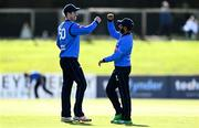 26 September 2020; Simi Singh of Leinster Lightning, right, celebrates with George Dockrell after catching out Harry Tector of Northern Knights during the Test Triangle Inter-Provincial Series 50 over match between Leinster Lightning and Northern Knights at Malahide Cricket Club in Dublin. Photo by Sam Barnes/Sportsfile