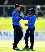 26 September 2020; Simi Singh of Leinster Lightning, right, celebrates with Jack Tector after catching out Harry Tector of Northern Knights during the Test Triangle Inter-Provincial Series 50 over match between Leinster Lightning and Northern Knights at Malahide Cricket Club in Dublin. Photo by Sam Barnes/Sportsfile