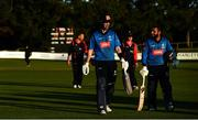 26 September 2020; George Dockrell, left, and Simi Singh of Leinster Lightning leave the field following the Test Triangle Inter-Provincial Series 50 over match between Leinster Lightning and Northern Knights at Malahide Cricket Club in Dublin. Photo by Sam Barnes/Sportsfile