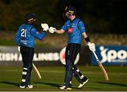 26 September 2020; Simi Singh, left, and George Dockrell of Leinster Lightning celebrate following the Test Triangle Inter-Provincial Series 50 over match between Leinster Lightning and Northern Knights at Malahide Cricket Club in Dublin. Photo by Sam Barnes/Sportsfile