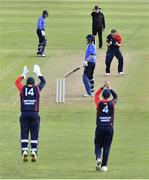 26 September 2020; Mark Adair of Northern Knights, and team-mates, from left, Gary Wilson, and Neil Rock celebrate after Kevin O'Brien of Leinster Lightning is bowled LBW during the Test Triangle Inter-Provincial Series 50 over match between Leinster Lightning and Northern Knights at Malahide Cricket Club in Dublin. Photo by Sam Barnes/Sportsfile