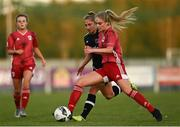26 September 2020; Zara Foley of Cork City in action against Ellen Molloy of Wexford Youths during the Women's National League match between Wexford Youths and Cork City at Ferrycarrig Park in Wexford. Photo by Harry Murphy/Sportsfile