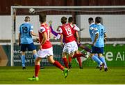 26 September 2020; Chris Forrester, 19, of St Patrick's Athletic scores his side's first goal during the SSE Airtricity League Premier Division match between St Patrick's Athletic and Shelbourne at Richmond Park in Dublin. Photo by Stephen McCarthy/Sportsfile