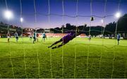 26 September 2020; Shelbourne goalkeeper Colin McCabe fails to save a shot from Chris Forrester for a St Patrick's Athletic goal during the SSE Airtricity League Premier Division match between St Patrick's Athletic and Shelbourne at Richmond Park in Dublin. Photo by Stephen McCarthy/Sportsfile