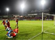 26 September 2020; St Patrick's Athletic goalkeeper Brendan Clarke in action against Denzil Fernandes of Shelbourne during the SSE Airtricity League Premier Division match between St Patrick's Athletic and Shelbourne at Richmond Park in Dublin. Photo by Stephen McCarthy/Sportsfile
