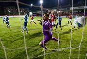 26 September 2020; Shelbourne goalkeeper Colin McCabe is beaten by a header from Rory Feely of St Patrick's Athletic, not pictured, during the SSE Airtricity League Premier Division match between St Patrick's Athletic and Shelbourne at Richmond Park in Dublin. Photo by Stephen McCarthy/Sportsfile