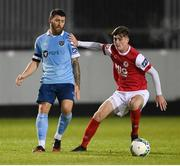 26 September 2020; Gary Deegan of Shelbourne in action against Ben McCormack of St Patrick's Athletic during the SSE Airtricity League Premier Division match between St Patrick's Athletic and Shelbourne at Richmond Park in Dublin. Photo by Stephen McCarthy/Sportsfile