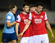 26 September 2020; Lee Desmond, left, and Martin Rennie of St Patrick's Athletic following the SSE Airtricity League Premier Division match between St Patrick's Athletic and Shelbourne at Richmond Park in Dublin. Photo by Stephen McCarthy/Sportsfile