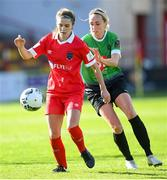 26 September 2020; Jamie Finn of Shelbourne in action against Stephanie Roche of Peamount United during the Women's National League match between Shelbourne and Peamount at Tolka Park in Dublin. Photo by Stephen McCarthy/Sportsfile