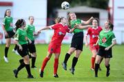 26 September 2020; Lucy McCartan of Peamount United in action against Jamie Finn of Shelbourne during the Women's National League match between Shelbourne and Peamount at Tolka Park in Dublin. Photo by Stephen McCarthy/Sportsfile