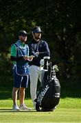 27 September 2020; Antoine Rozner of France, right, with his caddie Darren Reynolds, considers his options on the fourth fairway during day four of the Dubai Duty Free Irish Open Golf Championship at Galgorm Spa & Golf Resort in Ballymena, Antrim. Photo by Brendan Moran/Sportsfile
