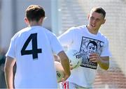 27 September 2020; Con O'Callaghan, right, and Michael Fitzsimons of Cuala wearing a t-shirt in the warm-up in support of his team-mate Seán Drummond, who was injured in an accident last year, before the Dublin County Senior 2 Football Championship Final match between Cuala and St Brigid's at Parnell Park in Dublin. Photo by Piaras Ó Mídheach/Sportsfile