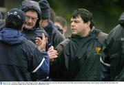 15 January 2004; Leinster captain Reggie Corrigan, right, pictured with team coach Gary Ella and assistant coach Willie Anderson during squad training. Leinster Squad Training, Old Belvedere Rugby Club, Donnybrook, Dublin. Picture credit; Matt Browne / SPORTSFILE *EDI*