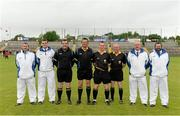 30 June 2013; Match officials, from left, Umpires John Emmo and Conor Dourneen, Linesmen Niall Clifford and Brendan Sweeney, referee James Clarke, 4th official, Noel Mullaney, and Umpires Martin Cleary and Enda Sweeney. Ulster GAA Hurling Senior Championship, Semi-Final, Derry v Down, Athletic Grounds, Armagh. Picture credit: Brendan Moran / SPORTSFILE