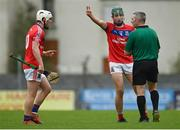 27 September 2020; John Headd and Eanna Burke of St Thomas protest to referee Liam Gordon after he blows the half-time whistle during the Galway County Senior Hurling Championship Semi-Final match between St Thomas and Cappataggle at Kenny Park in Athenry, Galway. Photo by Harry Murphy/Sportsfile