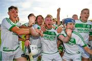 27 September 2020; Ballyhale Shamrocks players, from left, Darragh Corcoran, Patrick Mullen, Eoin Kenneally and Kevin Mullen celebrate following their side's victory during the Kilkenny County Senior Hurling Championship Final match between Ballyhale Shamrocks and Dicksboro at UPMC Nowlan Park in Kilkenny. Photo by Seb Daly/Sportsfile