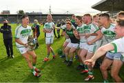 27 September 2020; Ballyhale Shamrocks captain Richie Reid, left, celebrates with the trophy and his team-mates following their side's victory during the Kilkenny County Senior Hurling Championship Final match between Ballyhale Shamrocks and Dicksboro at UPMC Nowlan Park in Kilkenny. Photo by Seb Daly/Sportsfile
