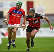 27 September 2020; David Burke of St Thomas in action against Eanna Garvey of Cappataggle during the Galway County Senior Hurling Championship Semi-Final match between St Thomas and Cappataggle at Kenny Park in Athenry, Galway. Photo by Harry Murphy/Sportsfile