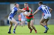 27 September 2020; Paddy Small of Ballymun Kickhams in action against Cathal Flaherty, left, and Shane Clayton of Ballyboden St Enda's during the Dublin County Senior 1 Football Championship Final match between Ballyboden St Enda's and Ballymun Kickhams at Parnell Park in Dublin. Photo by Piaras Ó Mídheach/Sportsfile