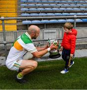 27 September 2020; The Clonmel Commercials captain Jamie Peters and his four year old son, Noah, with the O'Dwyer Cup after the Tipperary County Senior Football Championship Final match between Clonmel Commercials and Loughmore-Castleiney at Semple Stadium in Thurles, Tipperary. Photo by Ray McManus/Sportsfile