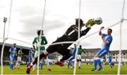 27 September 2020; Mark McGinley of Finn Harps saves a shot on target by Joseph Olowu of Cork City during the SSE Airtricity League Premier Division match between Finn Harps and Cork City at Finn Park in Ballybofey, Donegal. Photo by Eóin Noonan/Sportsfile