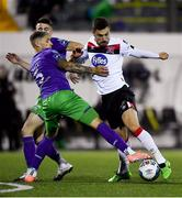 27 September 2020; Jordan Flores of Dundalk in action against Lee Grace of Shamrock Rovers during the SSE Airtricity League Premier Division match between Dundalk and Shamrock Rovers at Oriel Park in Dundalk, Louth. Photo by Ben McShane/Sportsfile