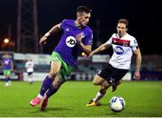 27 September 2020; Aaron McEneff of Shamrock Rovers in action against David McMillan of Dundalk during the SSE Airtricity League Premier Division match between Dundalk and Shamrock Rovers at Oriel Park in Dundalk, Louth. Photo by Ben McShane/Sportsfile