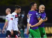 27 September 2020; Joey O'Brien, right, and Aaron Greene of Shamrock Rovers celebrate their second goal during the SSE Airtricity League Premier Division match between Dundalk and Shamrock Rovers at Oriel Park in Dundalk, Louth. Photo by Stephen McCarthy/Sportsfile