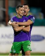 27 September 2020; Aaron McEneff celebrates after scoring his side's third goal with Shamrock Rovers team-mate Aaron Greene, right, during the SSE Airtricity League Premier Division match between Dundalk and Shamrock Rovers at Oriel Park in Dundalk, Louth. Photo by Stephen McCarthy/Sportsfile