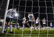 27 September 2020; David McMillan of Dundalk. 29, deflects the ball into his own net for the second Shamrock Rovers goal during the SSE Airtricity League Premier Division match between Dundalk and Shamrock Rovers at Oriel Park in Dundalk, Louth. Photo by Stephen McCarthy/Sportsfile