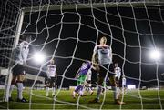 27 September 2020; David McMillan of Dundalk reacts after deflecting the ball into his own net for the second Shamrock Rovers goal during the SSE Airtricity League Premier Division match between Dundalk and Shamrock Rovers at Oriel Park in Dundalk, Louth. Photo by Stephen McCarthy/Sportsfile